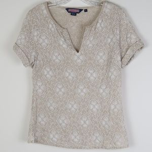 Vineyard Vines Linen Top w/Floral Embroidery S